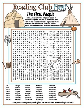 The First People (Native Americans) Word Search Puzzle