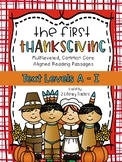 The First Thanksgiving: CCSS Aligned Leveled Reading Passa