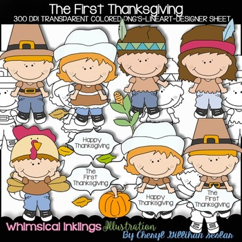 The First Thanksgiving Clipart Collection