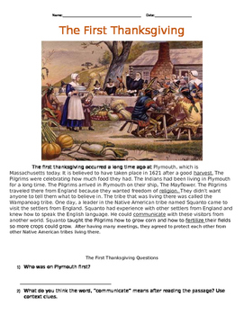 The First Thanksgiving Reading Passage & Activities