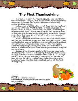 The First Thanksgiving reading and comprehension questions