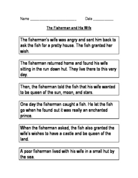 The Fisherman and His Wife Sequencing Activity