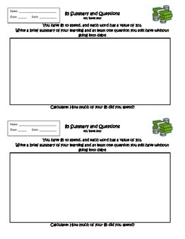 The Five Dollar Summary/Question Output Exit Ticket