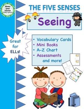 The Five Senses - Seeing -Mini Books,Vocabulary, Assessments