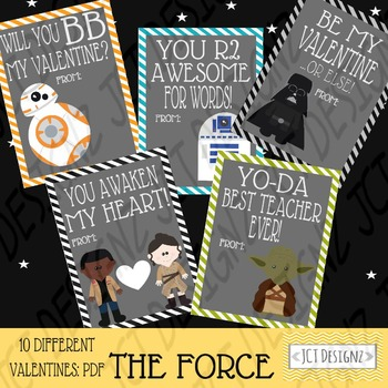 The Force inspired Star Wars Valentines, bb8 valentine, st