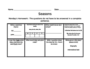 The Four Seasons Common Core Jouneys