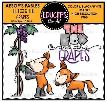 The Fox And The Grapes (Aesop's Fable) Clip Art Bundle