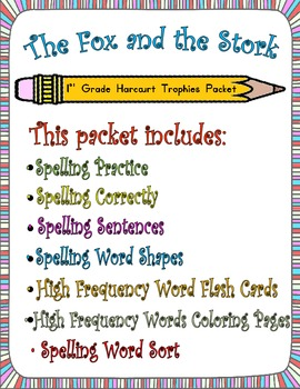 The Fox and the Stork:  First Grade Spelling and Sight Wor