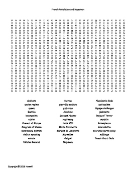 The French Revolution and Napoleon Word Search for World H