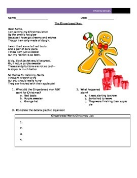 The Gingerbread Man Reading Comprehension