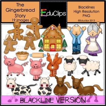 The Gingerbread Story Clip Art BLACKLINES