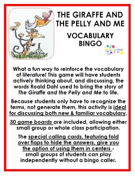 The Giraffe and the Pelly and Me Vocabulary Bingo