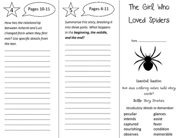 The Girl Who Loved Spiders Trifold - Journeys 4th Grade Un