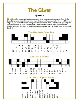 The Giver: 15 MORE Quotefall Puzzles--Memorable Quotes fro
