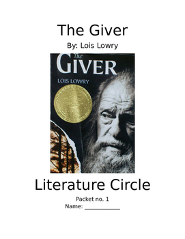 The Giver - 4 Person Literature Circle Group Jobs/Activities