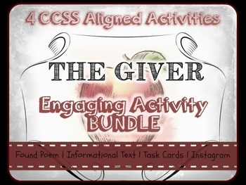 The Giver Activity Bundle - 4 Engaging Activies, CCSS Alig