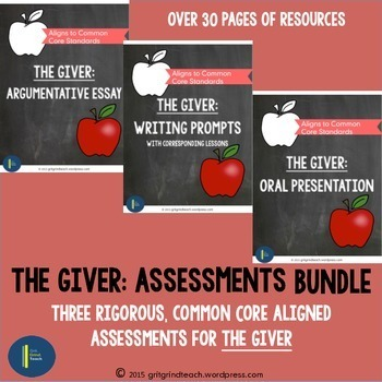 The Giver: Assessments BUNDLE Writing Prompts, Presentatio