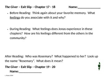 The Giver - Before, During, and After Reading Exit Slips -