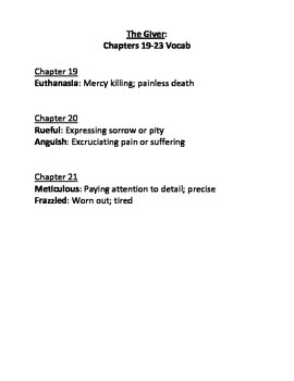 The Giver Ch. 19-23 Vocabulary