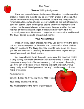 The Giver Choices Essay Assignment