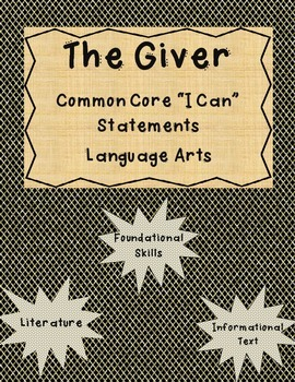 The Giver Common Core I Can Statements Informational-Found