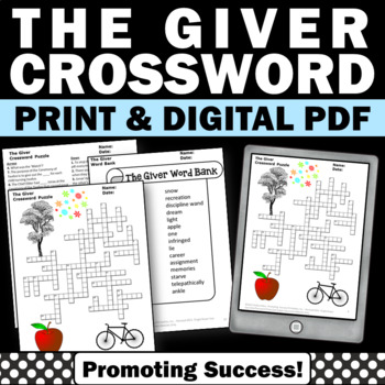 The Giver Book Crossword Puzzle Worksheets