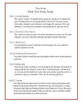 The Giver Final Test Study Guide