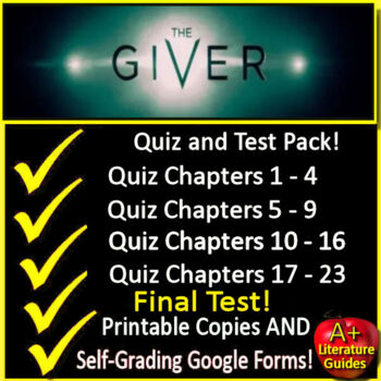 The Giver Novel Study Quiz and Test Bundle Common Core Aligned