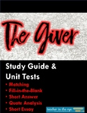 The Giver Unit Tests with Answer Keys & Bonus Study Guide! {CCSS}