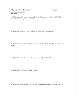 """The Giver"" by Lois Lowry, Comprehension Questions/Test"