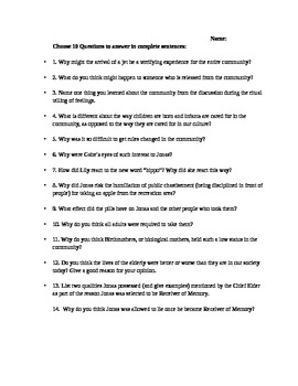 The Giver by Lois Lowry Cumulative Comprehension Test or A