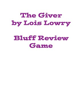 The Giver by Lois Lowry Review Game