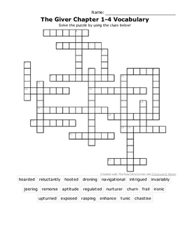 The Giver by Lois Lowry Vocabulary Crossword Puzzle