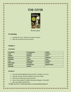 The Giver by Lois Lowry - Vocabulary and Questions