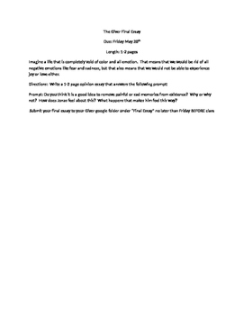 The Giver final essay