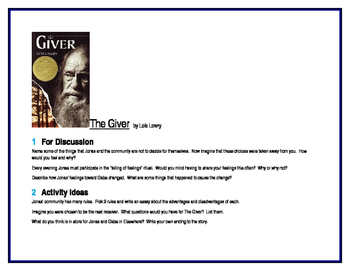 The Giver for Literature Circles