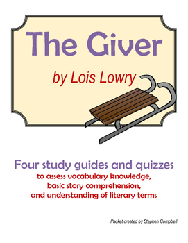 The Giver - novel assessments for vocabulary and comprehension