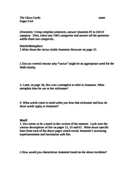 The Glass Castle literary element/close reading worksheet