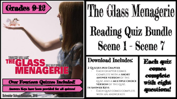 The Glass Menagerie Reading Quiz Bundle