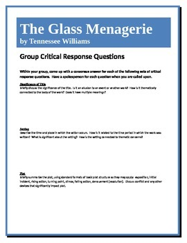 The Glass Menagerie - Williams - Group Critical Response Q