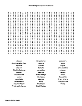 The Global Age: Europe and the Americas Word Search for Wo