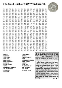 The Gold Rush of 1849 Word Search