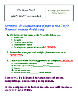 The Good Earth (RESPONSE JOURNAL)