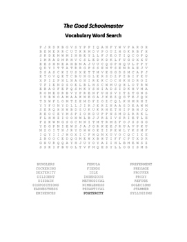 The Good Schoolmaster Vocabulary Word Search - Fuller