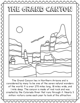 The Grand Canyon Informational Text Coloring Page Activity