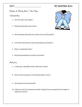 The Graveyard Book Chapter 6 Study Questions for Novel Unit