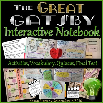 Great Gatsby Unit - Interactive Notebook Activities, Quizz