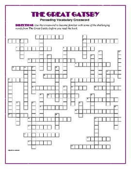 The Great Gatsby: 50-word Prereading Crossword---Use with
