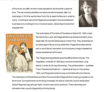The Great Gatsby Biography, Symbolism, and Setting Introdu