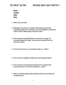 The Great Gatsby Chapter 1 Quiz and Answer Key